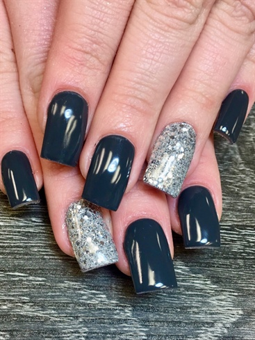 Long Grey Nails With Silver Glitter