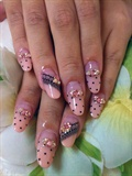 black dot and lace nails