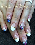 stained glass french nails