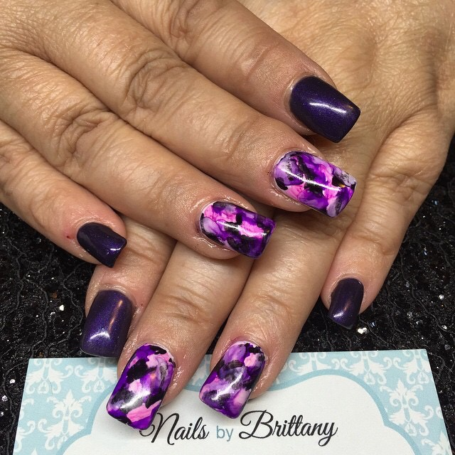 Purple with Sharpie Nail Art - Nail Art Gallery