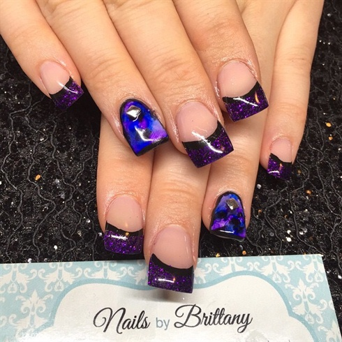 Purple Glitter French with Sharpie Nail