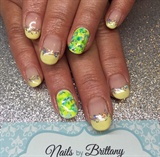 Yellow Tips, Sparkles And Sharpie Accent