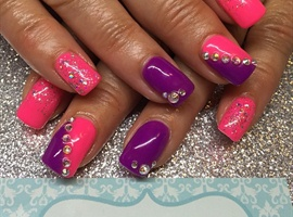 Bright neon pink and purple