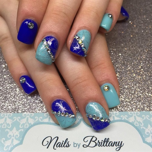 Shades of blue with swarovski