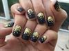 Matte Black & Gold Glitter