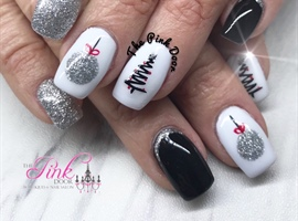 Silver And Black Christmas Nails