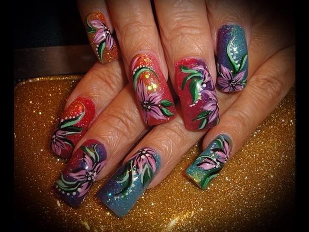 Rainbow glitter / Hand painted Flowers
