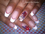 french tips with flower