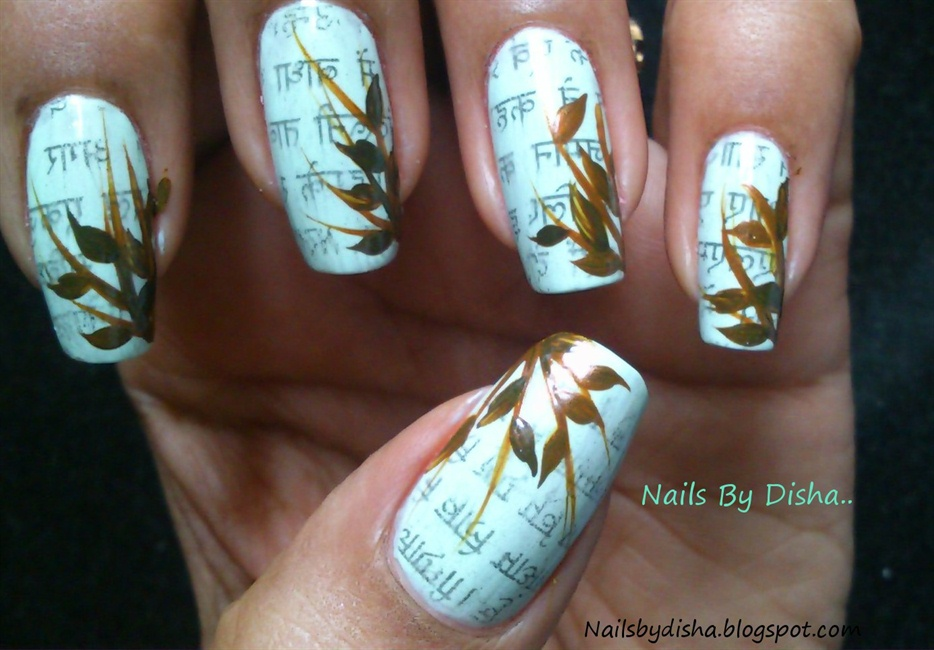 Newspaper Print with flowers - Nail Art Gallery Step-by-Step ...