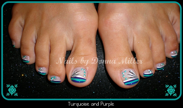 Turquoise and Purple Toes