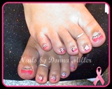 Pink White and Black Toes