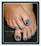 Turquoise and Black Toes
