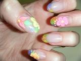 3-D neon flowers