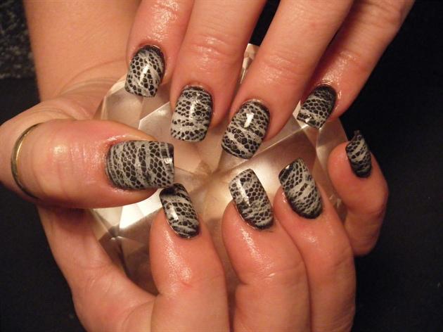 white lace impression over black