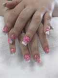 Pink & White French 3D Nail Art Bows