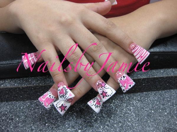 Pink & White DUCKFEET Stars, bows, zebra