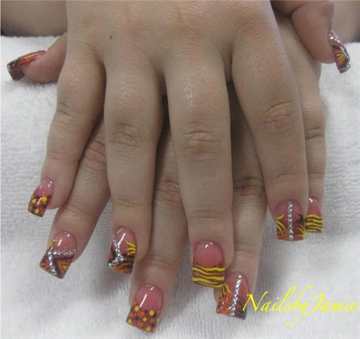 Red Rockstar French Handpainted nail art