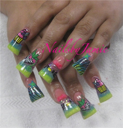 Long Flare 3 Glitter Fade 3d bow