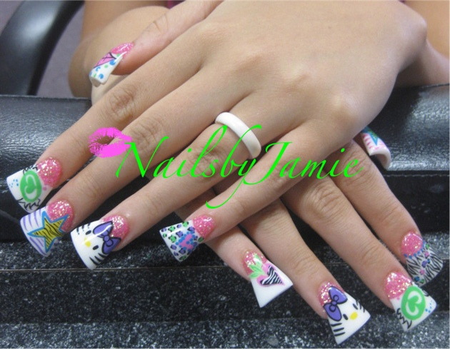 Duckfeet Mixed Girly Nail Art - Duckfeet Mixed Girly Nail Art - Nail Art Gallery