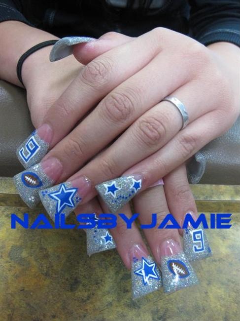 Silver Rockstar Duckfeet Dallas Cowboys Nail Art Gallery