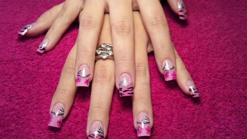 Pink Tips With Zebra Nail Art Nail Art Gallery