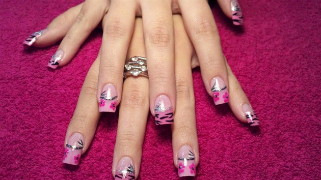 Pink tips with zebra nail art