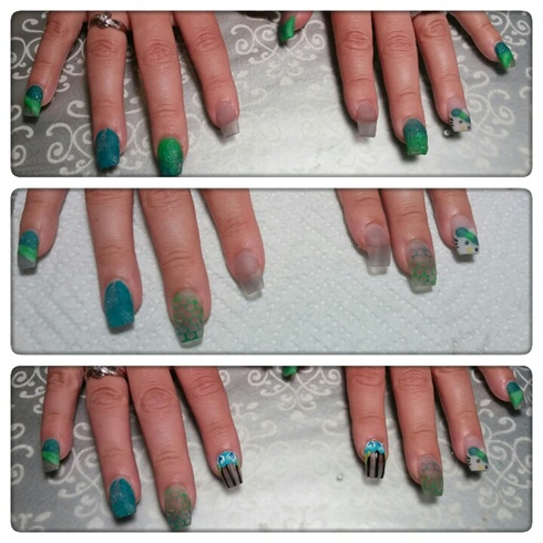 After all your sculpted nails are completed (For the thumbs I did a marbled acrylic tip with the blue and the green. And the black monomer with clear acrylic for the nail bed). File, Shape, and Buff your set, and proceed with the nail art.