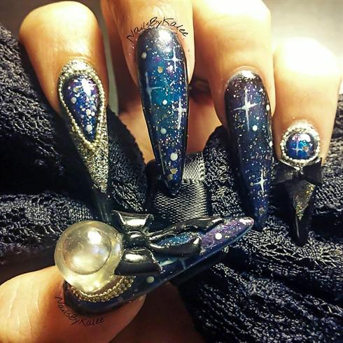 3D Galaxy Snowglobe Nail Art