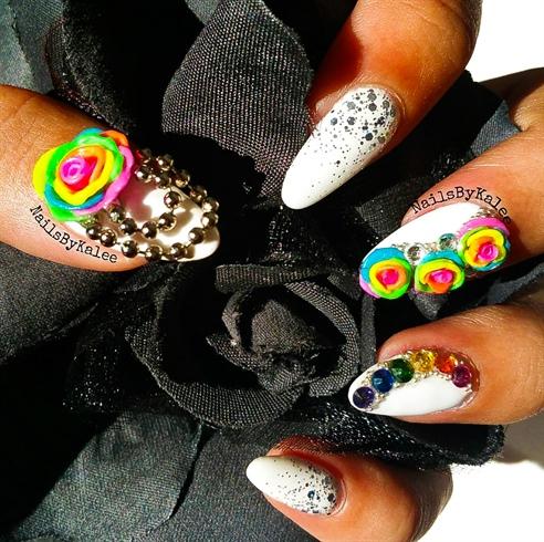 3d Rainbow Rose Nail Art Design