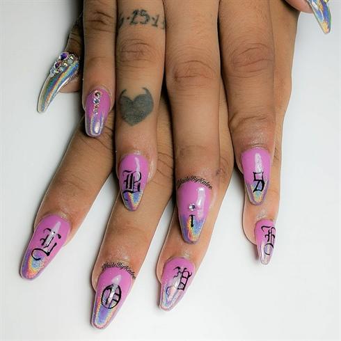 Big Holo Love Nail Art Design