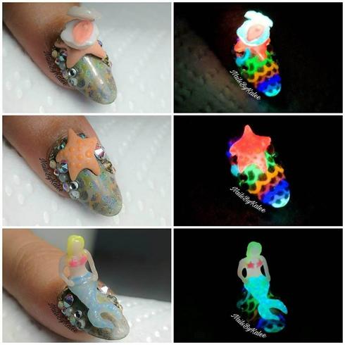 Glowing Mermaid Nails Part 3