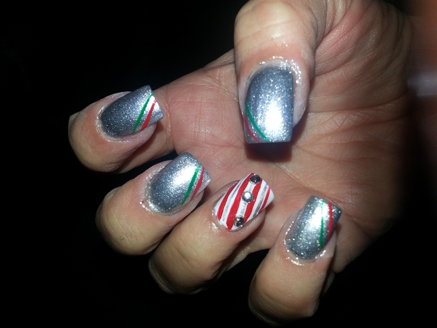 Nail art with a silver bells design