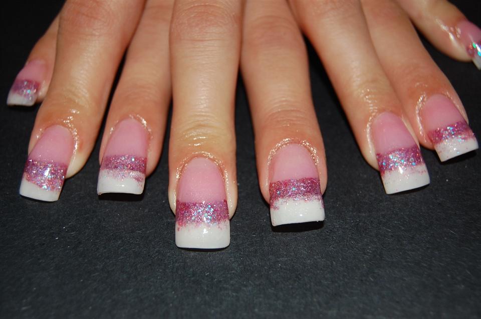 Pink & White Glitter Fade - Nail Art Gallery