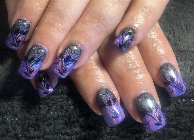 Black To Purple Ombré