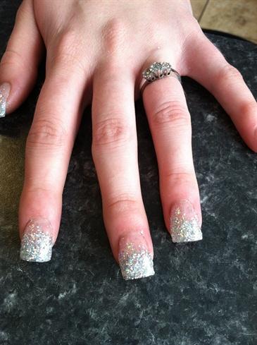 Silver fade wedding nails