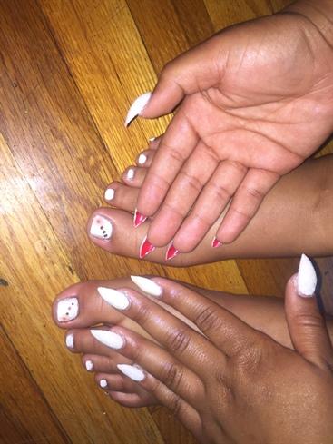 White Red Bottom Nails Glitter N Chrome