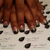 Black And Glittered Tips