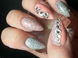 Coral, Grey & Swarovskis