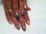 Nude And Glitter Almond Shaped Nails
