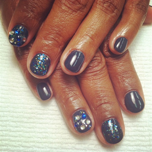 smokey gray with cnd shellac gel polish  nail art gallery