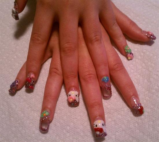 3D Hello Kitty Nails w/Aquarium Nails