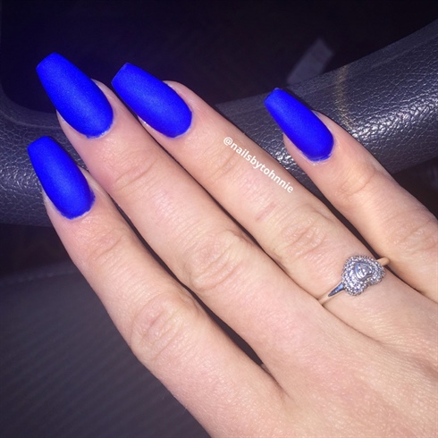 Matte Blue Nails Nail Art Gallery