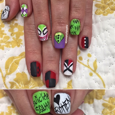 Suicide Squad Halloween Nails