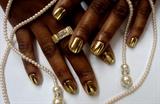gold minx nails