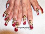 Red gliter w/leopard print