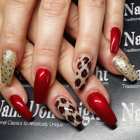 coffin nails with animal print  nail art gallery