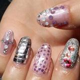 3D nails with studs & Swarovski