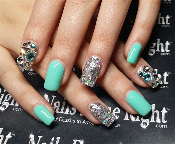 Tiffany Blue Nails With Bling Nail Art Gallery