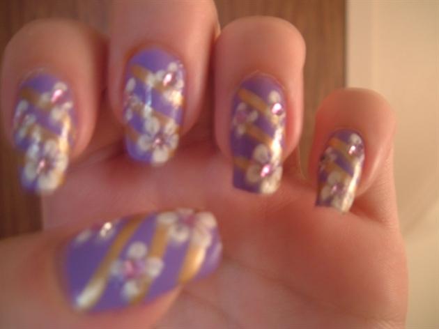 Purple Gold White Flower Nail Design Nail Art Gallery