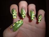 Green Glittery Flower Design